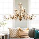 Candle Living Room Suspension Light Retro Amber Crystal Gold Finish Pendant Chandelier