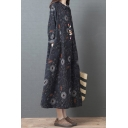 Classic Women's Swing Dress Tribal Floral Print Button Detail Point Collar Long Sleeves Relaxed Fit Maxi Swing Dress