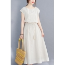 Fancy Women's A-Line Dress Solid Color Boat Neck Sleeveless Drawstring Elastic Waist Maxi A-Line Dress
