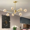 Ball Glass Branched Chandelier Postmodernism Brass LED Pendant Lighting for Dining Room