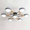 Snowflake Shaped Acrylic Ceiling Lamp Nordic 7-Bulb Wood Chandelier Light Fixture