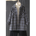 Stylish Shirt Plaid Printed Sherpa Lined Long Sleeve Spread Collar Button Up Loose Wool Shirt for Women