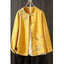 Vintage Womens Jacket Floral Embroidery Long Sleeve Crew Neck Frog Button Up Loose Fit Linen Jacket