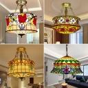 3 Lights Yurt Shaped Chandelier Pendant Tiffany Style Handcrafted Art Glass Hanging Light