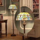 Hemispherical Pull-Chain Floor Light 2-Head Multicolored Stained Glass Tiffany Floor Lamp in Blue