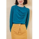 Chic Womens Shirt Plain Long Sleeve Crew Neck Ruched Relaxed Shirt Top in Peacock