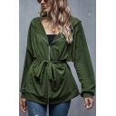 Leisure Women's Jacket Solid Color Zip Fly Long Sleeves Hooded Jacket with Waist Tie