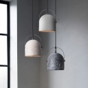 Dome Shaped Pendulum Light Nordic Concrete Single Kitchen Pendant Lamp with Handle