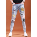 Men's Trendy Letter Graphic Printed Light Blue Hip Pop Style Casual Jeans