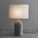 Elongated Dome Cement Night Light Minimalist Single Grey Table Lamp with Cylinder Fabric Shade