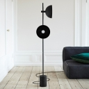 Black Phonograph Design Floor Light Postmodern 2-Bulb Metal Stand Up Lamp with Marble Base