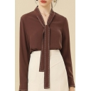 Trendy Girls Shirt Contrast Stitch Long Sleeve Tied Front Regular Fit Shirt in Coffee
