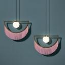 Semicircle Metal Pendulum Light Art Decor Single Dining Room Drop Pendant with Pink Fringe
