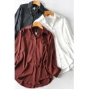 Stylish Women's Shirt Blouse Satin Solid Color Button Fly Spread Collar Long Sleeves Regular Fitted Shirt Blouse