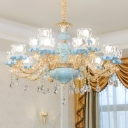 Clear Crystal Glass Lotus Chandelier Traditional Dining Room Ceiling Light in Blue and Gold