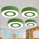 Metallic Round Flush Ceiling Light Kids LED Flush Mount Lighting Fixture for Classroom