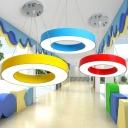 Circular LED Chandelier Light Fixture Kids Style Metal Playroom Suspension Lighting