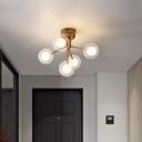 Clear Glass Sphere LED Semi Flush Light Nordic Style Flush Mount Ceiling Chandelier