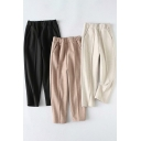 Fancy Women's Pants Solid Color Pocket Detail Elastic Waist Long Tapered Pants
