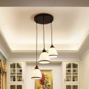Black Tapered Suspension Light Retro Style Frosted Glass 3 Bulbs Multi Lamp Pendant Light