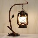 Iron Branch Night Lamp Rustic 1-Light Bedroom Table Light with Suspended Kerosene Lantern