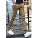 New Fashion Plaid Pattern Slim Fit Men's Casual Cotton Dress Pants