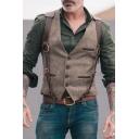 Fashion Velvet Patchwork Button Front Solid Color Open Bag Men's Khaki Vest