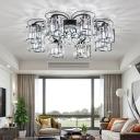 Floral K9 Crystal Ceiling Light Modernist Bedroom Flush Mount Lighting Fixture in Black