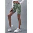 Casual Women's Shorts Tie Dye Print High Elastic Waist Lettuce Trim Skinny Shorts