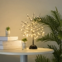 Black Finish Tree Festive Table Light Artistry Copper Wire Battery LED Nightstand Lamp