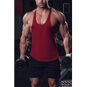 Gym Mens Tank Top Scoop Neck Solid Color Relaxed Fitted Tank Top