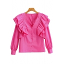 Fancy Women's Shirt Blouse Solid Color Ruffle Hem Button Fly Long Bishop Sleeves Regular Fitted Shirt Blouse