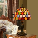 Hand Cut Glass Circles Night Lamp Vintage 1 Bulb Orange Table Lighting for Living Room