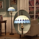 Mediterranean Dome Floor Standing Light 2-Head Cut Glass Floor Lamp in Blue with Pulling Chain
