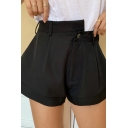 Popular Womens Shorts Irregular High Rise Solid Color Wide-leg Shorts in Black