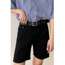 Stylish Men's Shorts Solid Color Acid Wash High Waist Zip Fly Straight Shorts with Washing Effect