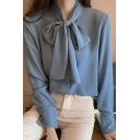 Popular Womens Shirt Chiffon Long Sleeve Bow-tied Neck Loose Fit Plain Shirt