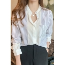 Chic Womens Shirt Stripe Printed Contrasted Long Sleeve Collarless Button Up Loose Fit Shirt Top in Black