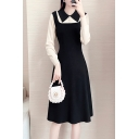 Popular Girls Dress Patchwork Long Sleeve Point Collar Button Up Mid A-line Dress