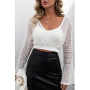 Trendy Women's Shirt Blouse Patchwork Long Flare Cuff Sleeves Scoop Neck Slim Fitted Shirt Blouse