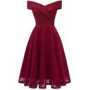 Gorgeous Ladies Dress Plain Off the Shoulder Lace Midi Pleated A-line Dress