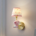 Pink Empire Shade Wall Light Fixture Cartoon 1-Bulb Fabric Sconce with Piglet Statue