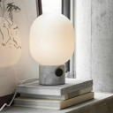 Oval Bedside Table Lighting White Glass 1-Bulb Minimalist Night Lamp with Marble Base