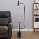 Swivelable Tube Floor Light Modern Marble Single Black Standing Lamp with Metal Tray