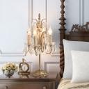 Metal Candlestick Chandelier Table Light Vintage 4-Head Bedroom Night Lamp with Crystal Drop