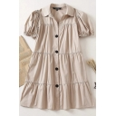 Trendy Women's Swing Dress Solid Color Tiered Button Fly Short Puff Sleeve Turn-down Collar Short Swing Dress