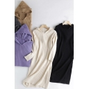 Leisure Women's Sweater Dress Solid Color Ribbed Trim Long Sleeve Hooded Sweater Dress