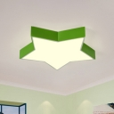 Kids Bedroom LED Ceiling Lighting Simple Style Flush Mount with Star Acrylic Shade