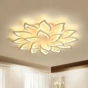Modern Flower Semi-Flush Ceiling Light Acrylic Living Room LED Flush Mount in White