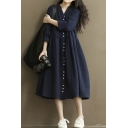 Unique Women's A-Line Dress Solid Color Button Closure Long-sleeved Relaxed Fit Midi A-Line Dress